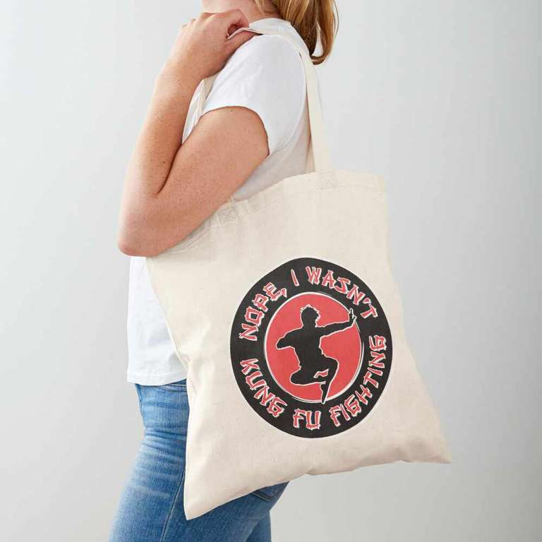 Nope, I wasn't kung fu fighting tote bag