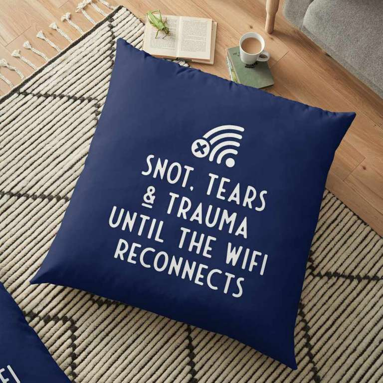 Snot, tears and trauma until the WiFi reconnects cushion